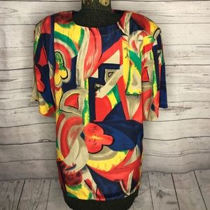 Vintage 80s Geometric Alfred Dunner Blouse F1-121